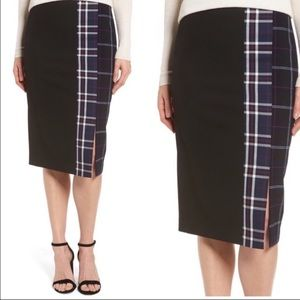 Halogen mixed plaid black blue pencil skirt size 0